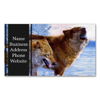 Two red wolves painting magnetic business card