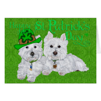 Two Resting Westies on St Patricks Day Cards