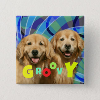 Two Retro Golden Retriever Dogs Psychedelic Groovy Button