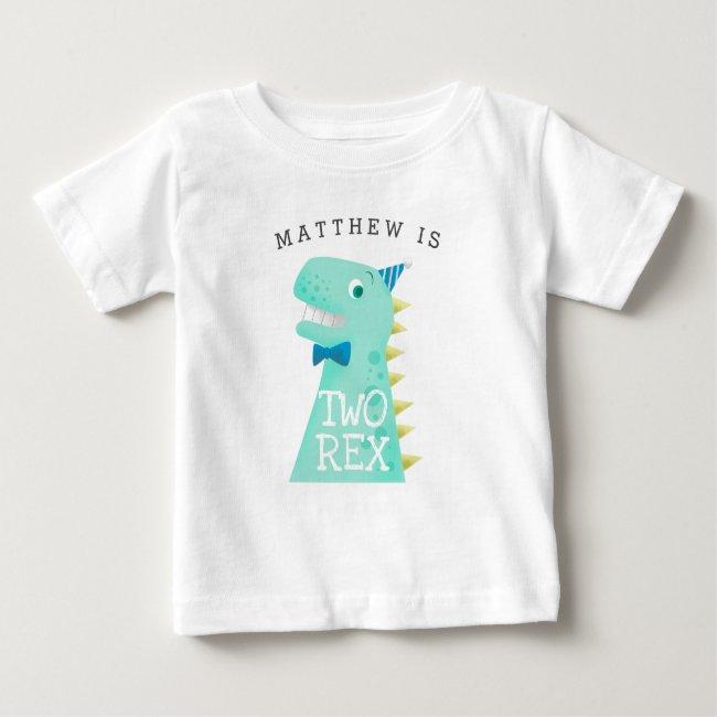 TWO REX Birthday Boy Dinosaur Baby T-Shirt