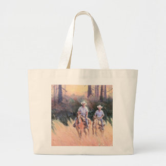 TWO RIDERS by SHARON SHARPE Large Tote Bag