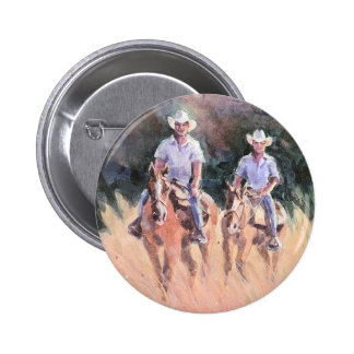 TWO RIDERS by SHARON SHARPE Pinback Button