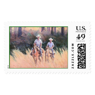 TWO RIDERS by SHARON SHARPE Postage Stamp