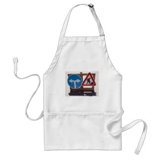 Two road signs low wooden stand adult apron
