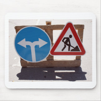 Two road signs low wooden stand mouse pad