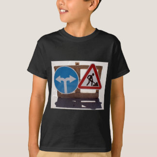 Two road signs low wooden stand T-Shirt