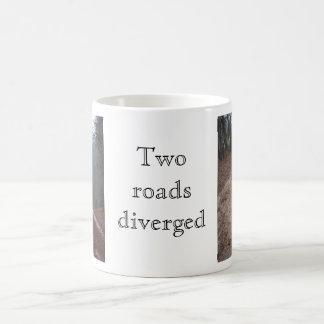 Two roads diverged coffee mugs