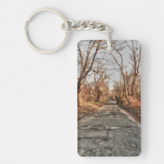 Two Roads in the Woods Keychain