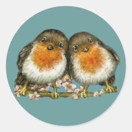 two robins classic round sticker