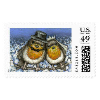 Two robins postage