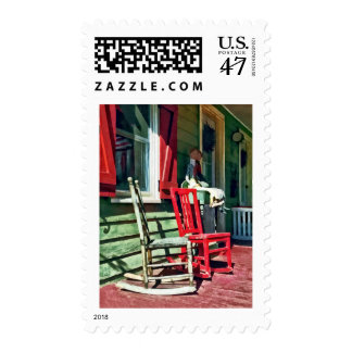Two Rocking Chairs on Porch Stamp