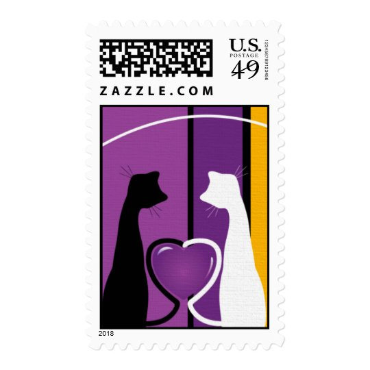 Two Romantic Cats Postage