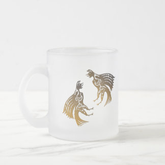two roosters frosted glass coffee mug