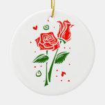 Two roses abstract graphic Double-Sided ceramic round christmas ornament