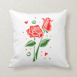 Two roses abstract graphic throw pillows