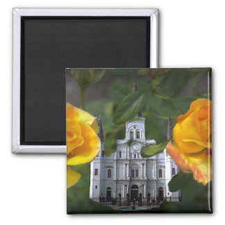Two roses and a church, magnet