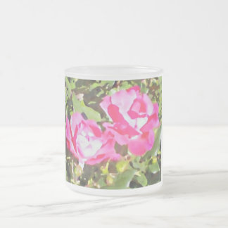 Two Roses Frosted Glass Mug