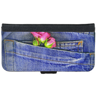 Two Roses In A Denim Patch Pocket Wallet Phone Case For iPhone 6/6s