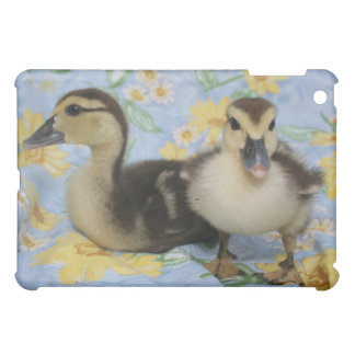 two rouen ducklings against flowered background case for the iPad mini