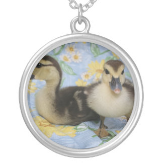 two rouen ducklings against flowered background round pendant necklace