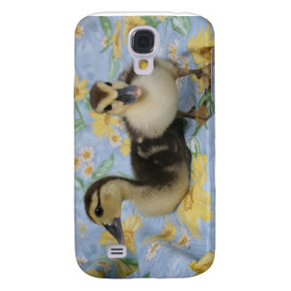 two rouen ducklings against flowered background samsung galaxy s4 case