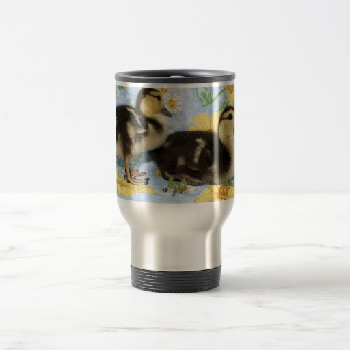 two rouen ducklings facing right one standing 15 oz stainless steel travel mug