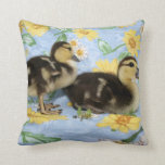 two rouen ducklings facing right one standing throw pillow