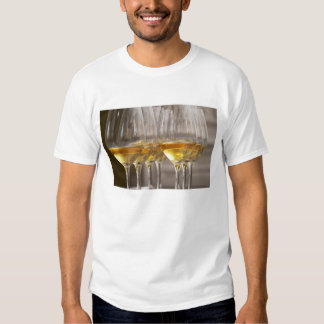 two rows of wine tasting glasses with lucious t-shirt