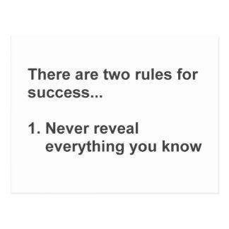 Two Rules For Success Revealed Postcard