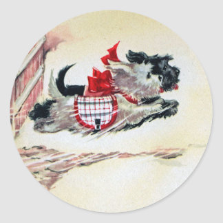 Two Running Scotties Classic Round Sticker