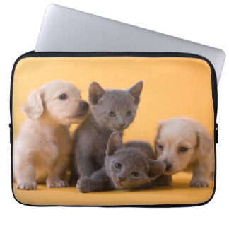 Two Russian Blue Kittens And Two Dachshund Puppies Computer Sleeves