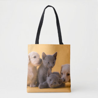 Two Russian Blue Kittens And Two Dachshund Puppies Tote Bag