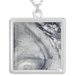 Two S-Shaped Polar Hurricanes Silver Plated Necklace