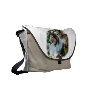 Two Sable Rough Collie Gifts Messenger Bag
