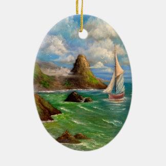 Two Sail Boat Seascape Design Ceramic Ornament