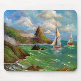 Two Sail Boat Seascape Design Mouse Pad