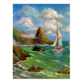 Two Sail Boat Seascape Design Postcard