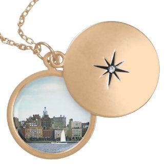 Two Sailboats Against Manhattan Skyline Locket Necklace