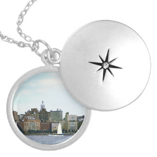Two Sailboats Against Manhattan Skyline Silver Plated Necklace