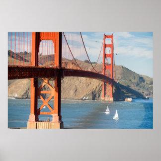 Two Sailboats Golden Gate Bridge San Francisco Bay Poster