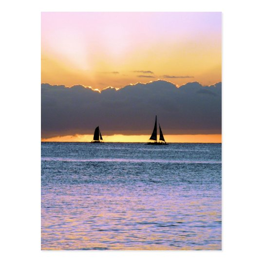 Two Sailboats in a Waikiki Sunset Postcard
