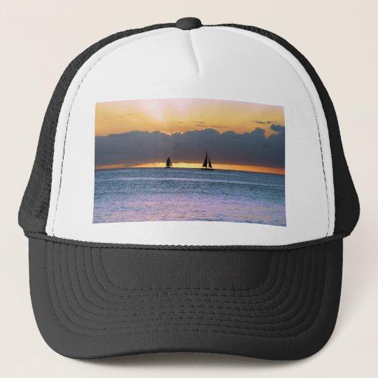 Two Sailboats in a Waikiki Sunset Trucker Hat