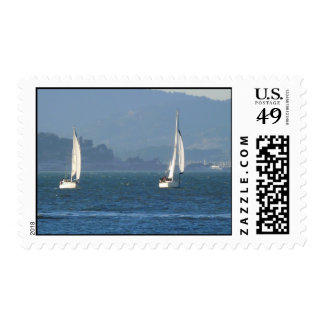 Two Sailboats on San Francisco Bay Postage Stamp