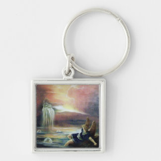 TWO SAINT JOHN AND FALLEN ANGEL Silver-Colored SQUARE KEYCHAIN