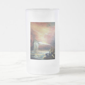 TWO SAINT JOHN AND FALLEN ANGEL 16 OZ FROSTED GLASS BEER MUG