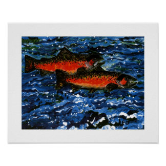 Two Salmon Poster