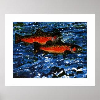 Two Salmon Poster