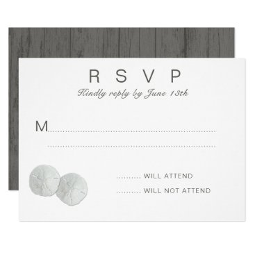 Beach Themed Two Sand Dollars White RSVP Attendance Card