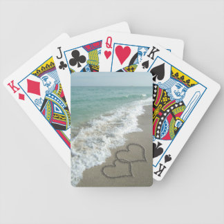 Two Sand Hearts on the Beach Bicycle Playing Cards