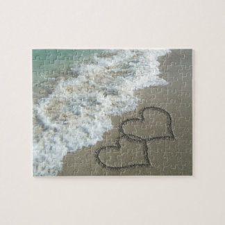Two Sand Hearts on the Beach Jigsaw Puzzle
